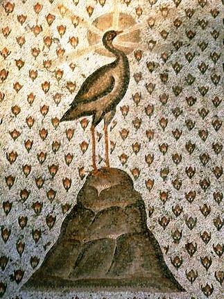 La Fenice nella cultura ellenistica. Mosaico a Dafne, sobborgo di Antiochia, Turchia, 300 circa d.C.