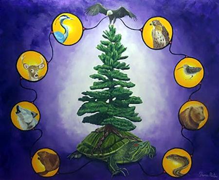 Una rappresentazione simbolica del Gran Consiglio Irochese riunito intorno all'Albero della Pace, nella forma totemica dei vari Clan Irochesi