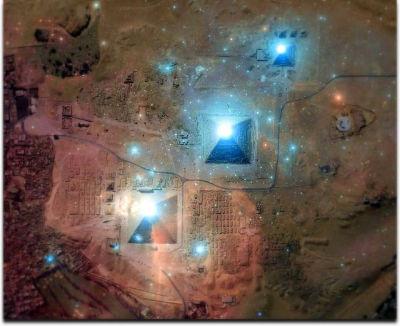 La perfetta sovrapposizione della Costellazione di Orione sulle piramidi della Piana di Giza, Egitto