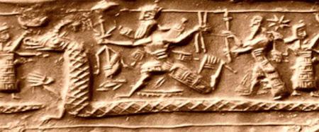 La lotta tra Marduk e Tiamat, particolare da un sigillo cilindrico