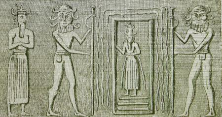 Raffigurazione sumera del dio Enki mentre oltrepassa un portale dimensionale