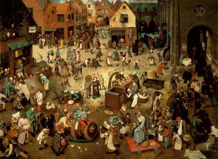 """Pieter Bruegel il Vecchio, """"Lotta tra carnevale e quaresima"""""""