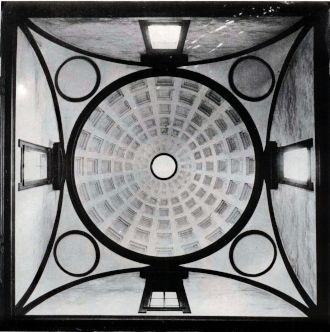 Michelangelo Buonarroti, veduta interna della cupola della Sagrestia Nuova di San Lorenzo, Firenze – evidenti sono i riferimenti alla geometria alchemica, dai quattro elementi al cerchio sacro della vita, accostato al simbolismo della ruota forata