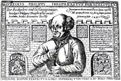 Incisione raffigurante il noto fondatore dell'alchimia moderna, Paracelso. Si noti anche qui la ripetitiva presenza del quadrato magico